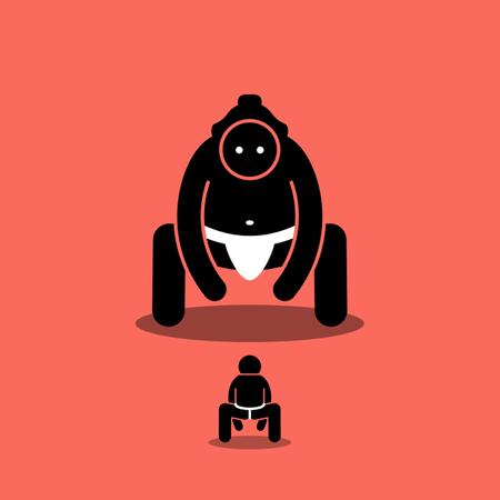 Tiny man vs big Japanese sumo fighter Illustration