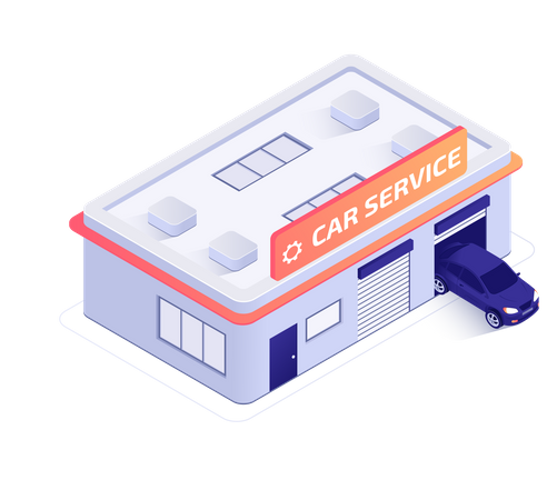 Tire Fitting and Car Service Center Illustration