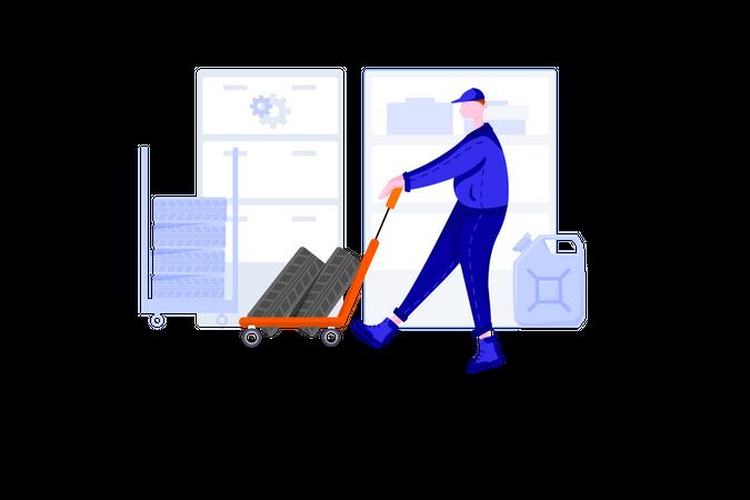 Tire service Illustration