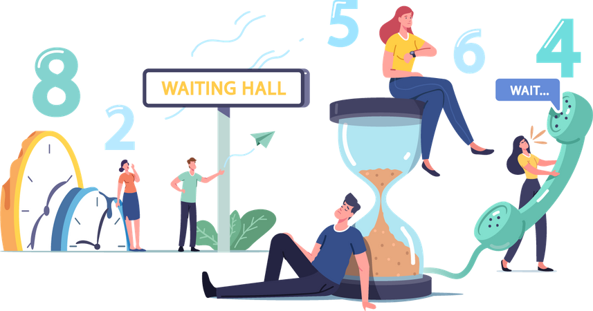 Tired and Bored people Too Long Waiting in Office Hall Illustration
