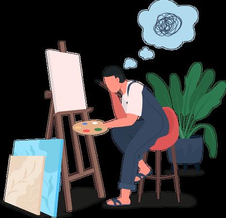 Tired artist at easel Illustration