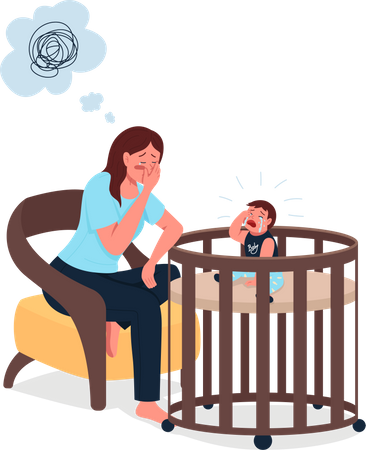 Tired mother with crying baby Illustration