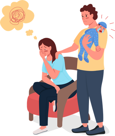 Tired mother with husband and newborn baby Illustration