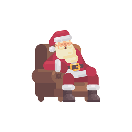 Tired Santa Claus Sleeping In An Armchair After Delivering The Presents Illustration