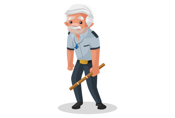 Tired security guard Illustration