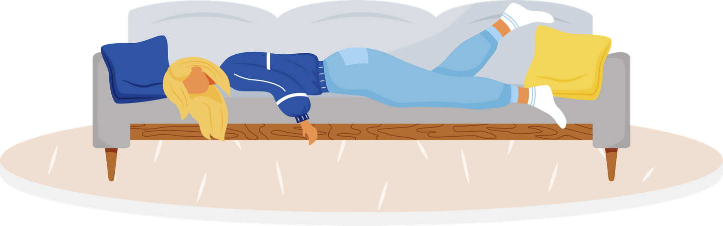 Tired woman lying on couch Illustration