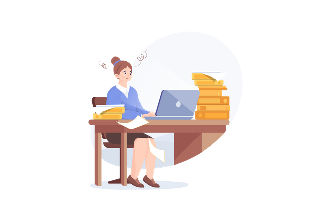 Tired young woman working on her laptop among piles of papers and documents. Stress in the office Illustration