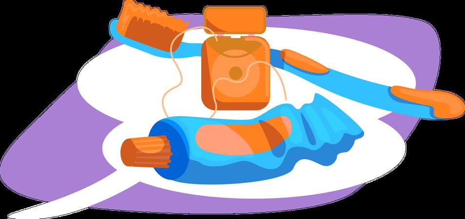 Tools for dental hygiene Illustration