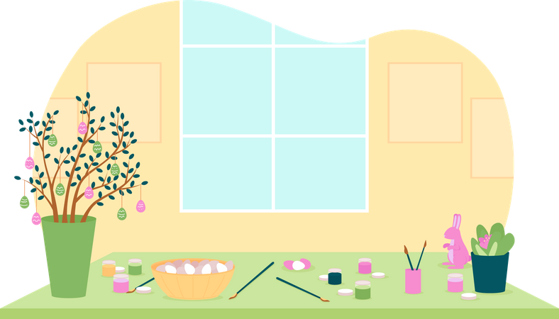 Tools for painting eggs in kitchen Illustration