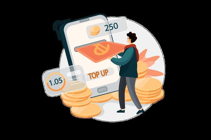 Top up for online wallet Illustration