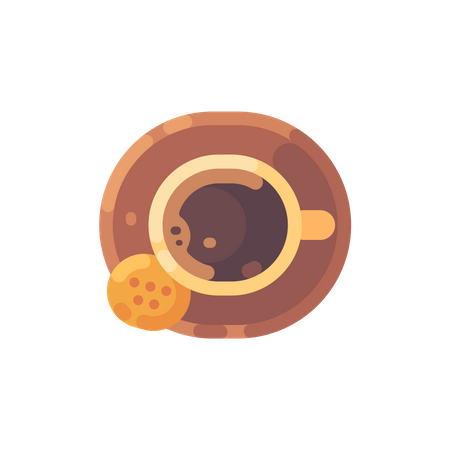 Top view of cup of coffee with a cookie Illustration