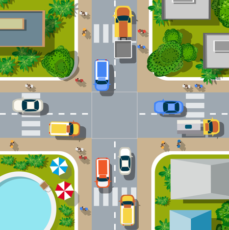 Top view of the city Illustration