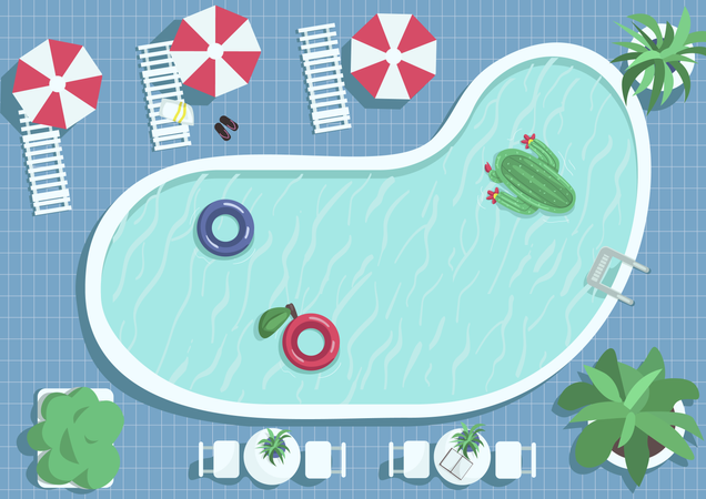 Top view round swimming pool Illustration