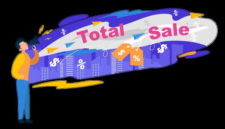 Total Sale Banner , Man Character Shout in Megaphone Illustration