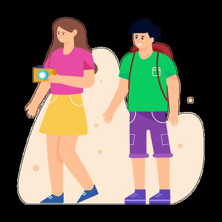 Tourist couple Illustration