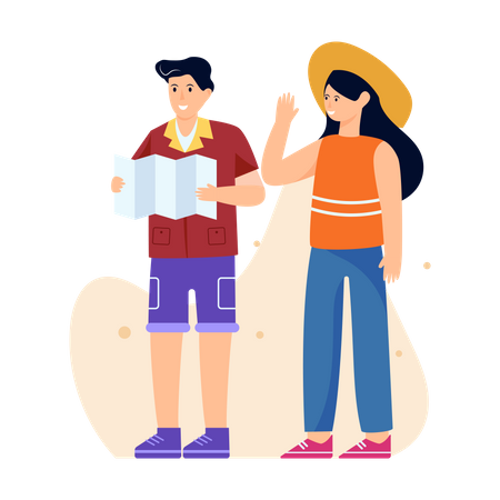 Tourist Couple trying to find path Illustration