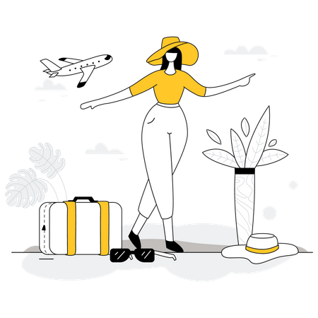 Tourist Girl enjoying trip Illustration