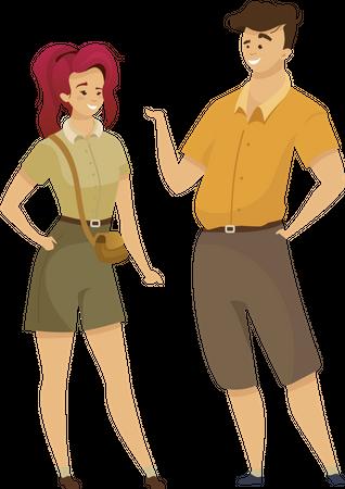 Tourist in khaki uniform Illustration