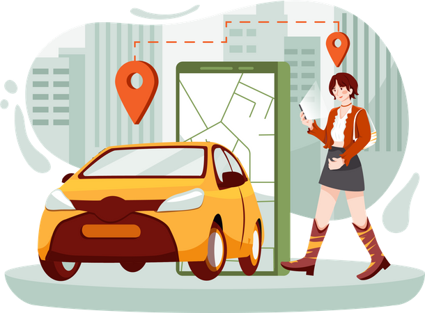 Tourist searching online cab for travelling Illustration