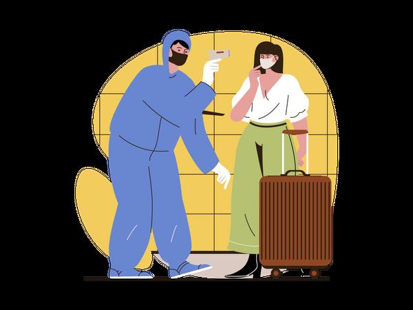 Tourist temperature checking using temperature gun Illustration