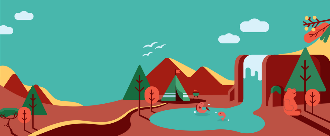 Tourist tent near waterfall with the background of mountain Illustration