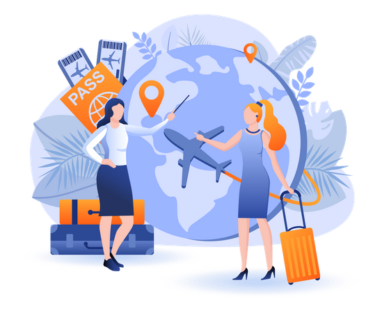 Tourist Travelling Across Countries Illustration