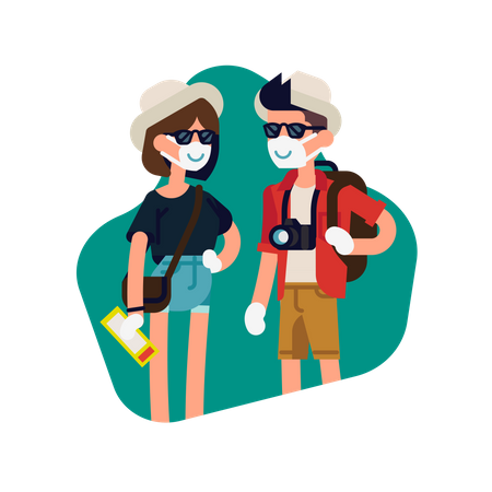 Tourist wearing facemask and gloves Illustration