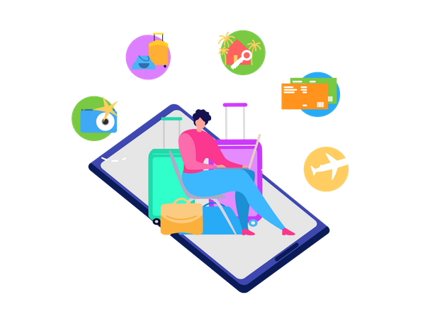 Tourist with Baggage Using Laptop to Chose and Order Travel Agency Services, Booking Airline Tickets Online, Reserving Hotel Room in Internet Illustration