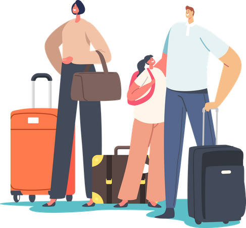 Tourists Family with Child Holding Suit Cases Illustration