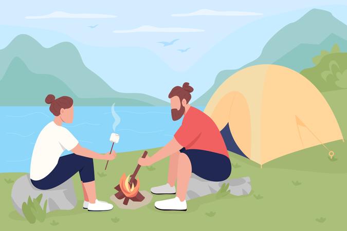 Tourists roasting marshmallows on bonfire Illustration