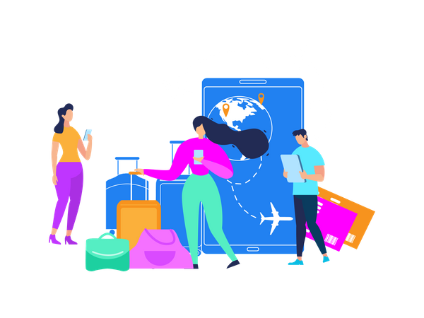 Tourists Searching Flight Schedules, Planning Vacation Travel, Ordering Baggage Transporting, Booking Tickets with Online App Illustration