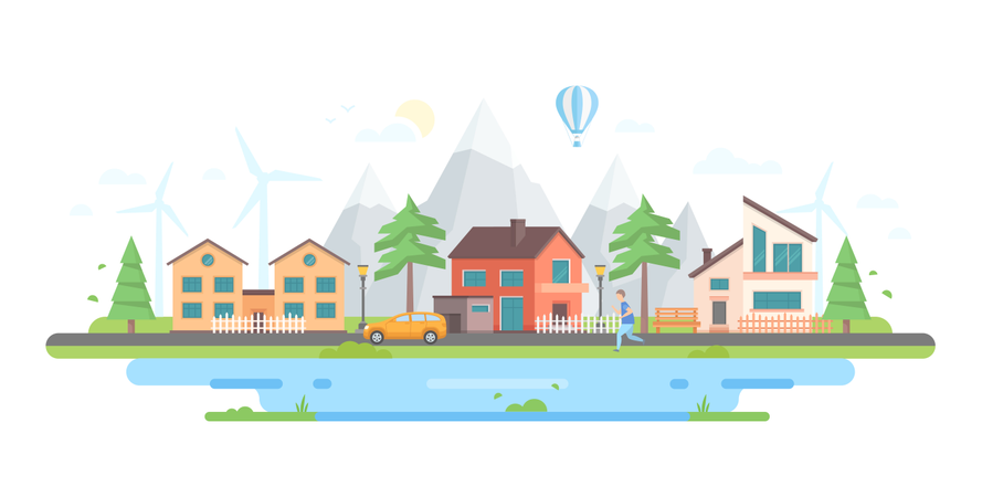 Town By The Hills - Modern Flat Design Style Vector Illustration Illustration