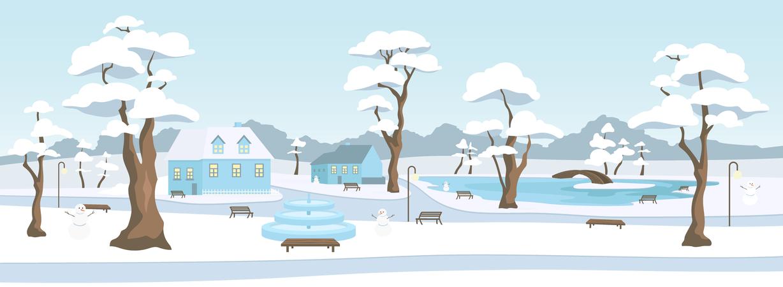 Town park in winter season Illustration