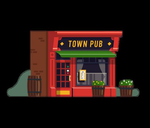 Town pub or restaurant Illustration