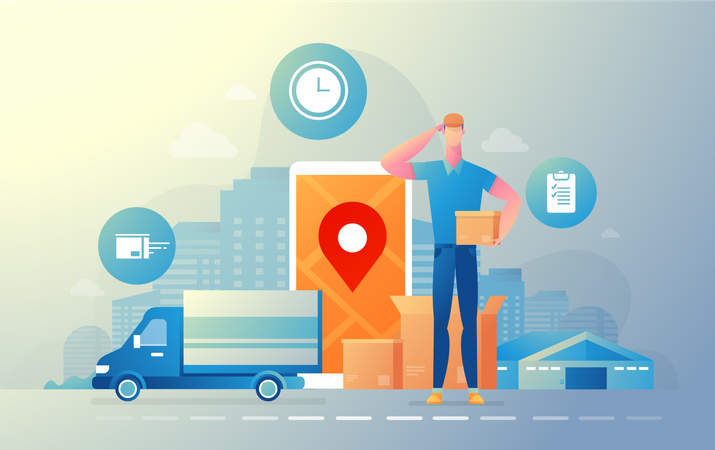 Track delivery location Illustration