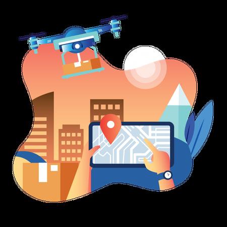 Track Drone Delivery Illustration