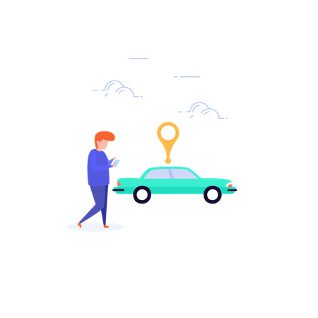 Tracking cab after online cab booking Illustration