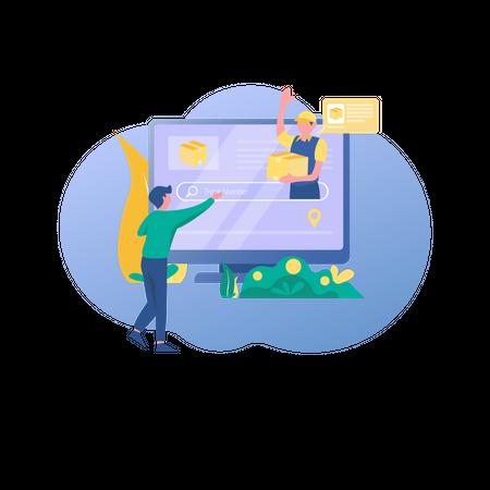 Tracking order online Illustration
