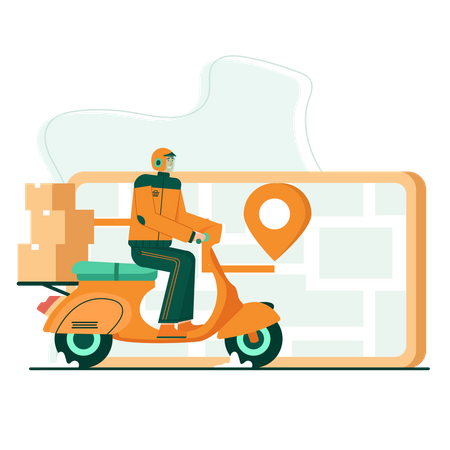 Tracking package using mobile Illustration