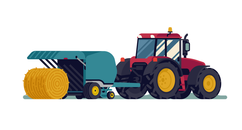Tractor pulling round baler with hay bale rolling out Illustration