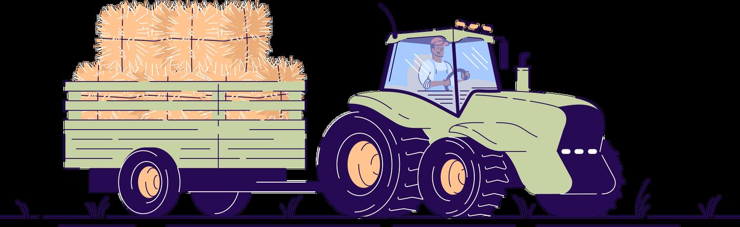 Tractor transporting haystacks Illustration
