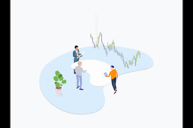 Trade Coin Team Illustration