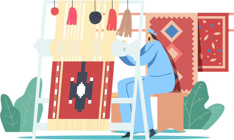 Traditional Clothes Working on Hand loom Making Carpet Illustration