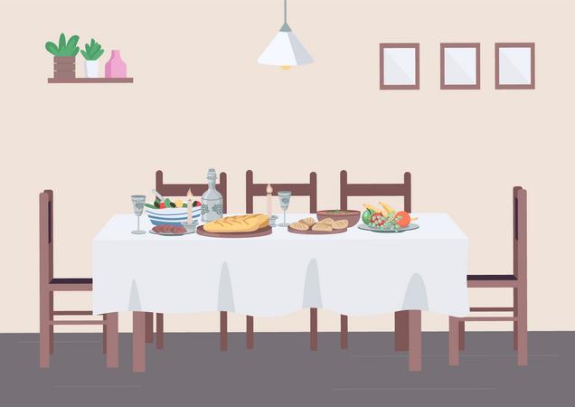 Traditional dinner at home Illustration