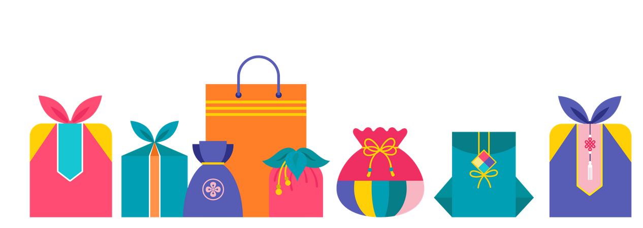Traditional gift boxes collection Illustration