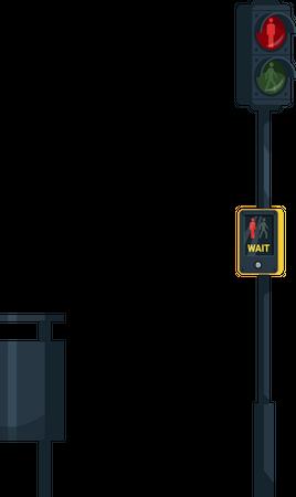 Traffic light with wait, walk button Illustration