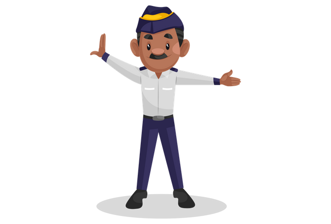 Traffic police man showing hand signal Illustration