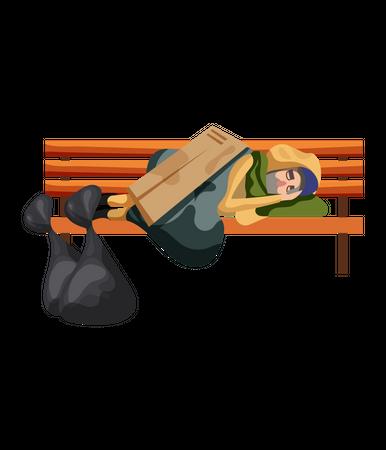 Tramp sleeping on bench Illustration