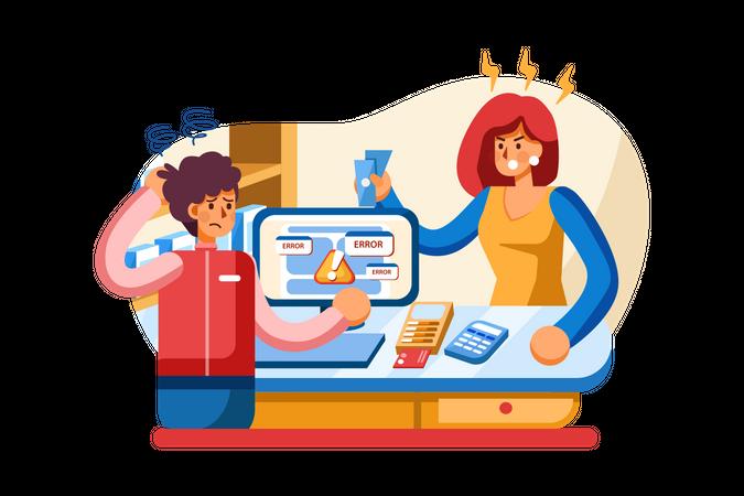 Transaction error in online payment Illustration