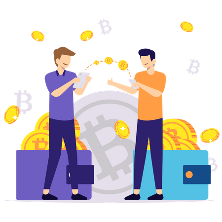 Transaction in Cryptocurrency Illustration